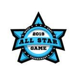 Todo o jogo da estrela Emblema do esporte, logotipo, na forma de uma estrela Ilustração do vetor ilustração royalty free