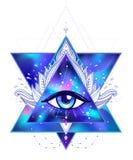Todo o olho de vista Ilustração colorida brilhante do cosmos do vetor Cosm ilustração do vetor