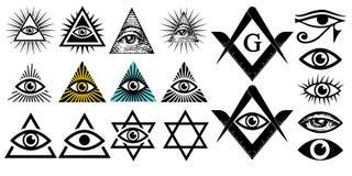 Todo o olho de vista Símbolos de Illuminati, sinal maçônico Conspiração das elites ilustração stock