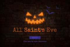 Todo o Saint& x27; s Eve Boo Halloween Icon Concept imagens de stock