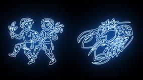 Todo o sinal do zodíaco revelado em linhas de incandescência azuis ilustração stock