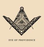 Todo-vendo o olho do providência Símbolos maçônicos do quadrado e do compasso Logotipo da gravura da pirâmide da maçonaria, emble ilustração do vetor