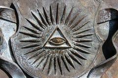 Todo-ver el ojo con los rayos, símbolo imagen de archivo libre de regalías