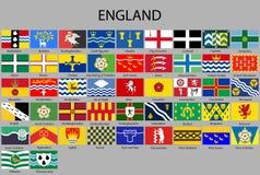 todos los condados de las banderas de Inglaterra libre illustration