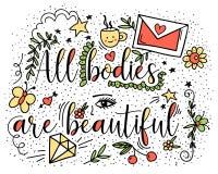Todos los cuerpos son hermosos Ejemplo del vector en garabato del estilo con la taza de café, letra, mariposa, estrella, cereza,  Fotografía de archivo libre de regalías