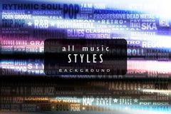Todos los estilos de la música Imagen de archivo