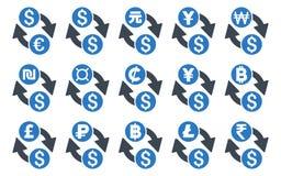 Todos los iconos planos del Glyph del intercambio de moneda ilustración del vector