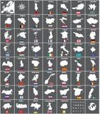 Todos los mapas del vector de los países europeos con las banderas Imágenes de archivo libres de regalías