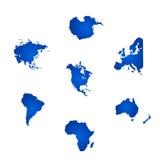 Todos los seis continentes del mundo Imagen de archivo libre de regalías
