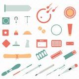 Todos los tipos y métodos modernos de la contracepción Iconos fotos de archivo libres de regalías