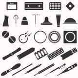 Todos los tipos y métodos modernos de la contracepción Iconos fotografía de archivo