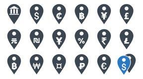 Todos os ícones lisos do Glyph dos marcadores do mapa da moeda Imagens de Stock Royalty Free