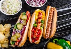 Todos os cães da carne, variantion dos cachorros quentes Fotos de Stock Royalty Free