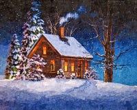 Todos os desejos vêm verdadeiro na noite de Natal Do Natal vida ainda Aquarela molhada de pintura no papel Arte ingénua Arte abst ilustração royalty free