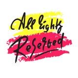 Todos os direitos reservados - para inspirar citações inspiradores Rotula??o tirada m?o Cal?o da juventude, idioma c?pia ilustração do vetor