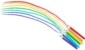 Todos os lápis da cor do arco-íris Fotos de Stock