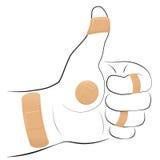Todos os polegares direitos do emplastro esparadrapo do símbolo acima Imagens de Stock