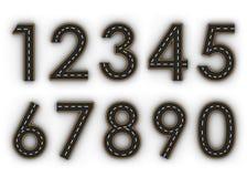 Todos os símbolos do número das figuras sob a forma de uma estrada com linha branca e amarela rendição das marcações 3d Imagem de Stock Royalty Free