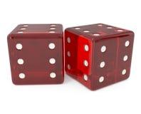 Todos os seis, dados vermelhos isolados no branco Imagem de Stock Royalty Free
