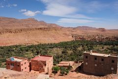 View near Todra Gorge in Morocco, with great sunshine and cloud sky. Todra Gorge in moroccan Atlas Mountais, Morocco.Famous Todra gorge near Tinhrir city Stock Photos