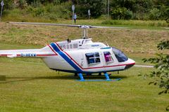TODTMOOS, GERMANY - JULY 22 2018: Helicopter in the park of todt stock photography