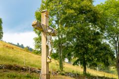 TODTNAU, GERMANY - JULY 20 2018: Christ Cross Along a Hiking Trail in the Beautiful Todtnau Black Forest Germany royalty free stock photo