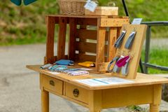 TODTNAU, GERMANY - JULY 20 2018: Cute Table Along Hiking Trail i stock images