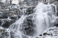 Todtnau Waterfall at winter time Royalty Free Stock Photo