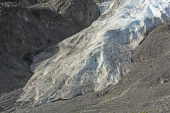 Toe of an Alpine Glacier. Toe of the Exit Glacier near Seward, Alaska Stock Photo