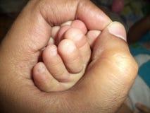 Toe Babys και ένα αρσενικό χέρι Στοκ φωτογραφίες με δικαίωμα ελεύθερης χρήσης