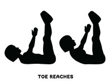 Toe reaches. Crunches. Double crunch. Sport exersice. Silhouettes of woman doing exercise. Workout, training. Double crunches. Double crunch. Sport exersice vector illustration