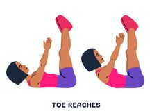 Toe reaches. Crunches. Double crunch. Sport exersice. Silhouettes of woman doing exercise. Workout, training. Double crunches. Double crunch. Sport exersice stock illustration