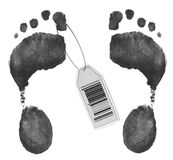 Toe tag on two foot prints. Toe tag with barcode on foot prints Stock Photos