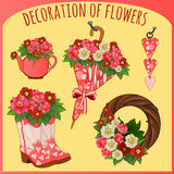Toebehoren en decoratieve voorwerpen met bloemen stock illustratie
