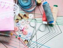 Toebehoren van de kleermaker Stock Foto