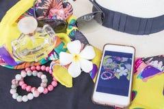 Toebehoren van kleurrijke vrouw in de zomer Stock Afbeeldingen