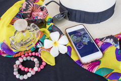 Toebehoren van kleurrijke vrouw in de zomer Royalty-vrije Stock Foto's