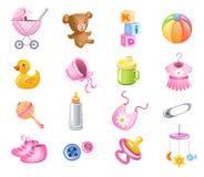 Toebehoren voor babymeisje. royalty-vrije illustratie