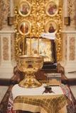 Toebehoren voor doopsel het baden in de doopdoopvont Royalty-vrije Stock Foto's