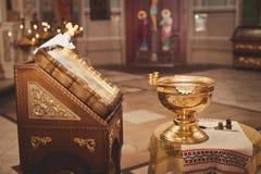 Toebehoren voor doopsel het baden in de doopdoopvont Stock Foto