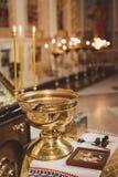 Toebehoren voor doopsel het baden in de doopdoopvont Stock Foto's
