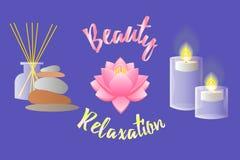 Toebehoren voor Schoonheidssalon, Ontspanning, Aromatherapy en Massa Royalty-vrije Stock Foto