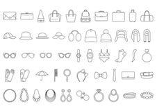 Toebehorenpictogrammen De zakken van lijnpictogrammen, hoeden, juwelen, glazen Stock Foto's