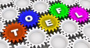 TOEFL. Abbreviation on the gears Stock Photos
