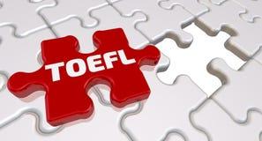 TOEFL L'inscription sur l'élément absent du puzzle illustration stock
