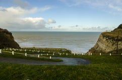 Toegang tot het Bois DE Cise strand, Picardie Stock Afbeeldingen