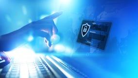 Toegangsvenster met login en wachtwoord op het virtuele scherm Cyberveiligheid en persoonlijk gegevensbeschermingconcept royalty-vrije stock fotografie