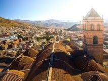 Toegankelijk dak met klokketoren van San Francisco Convent, Potosi, Bolivië, Zuid-Amerika stock afbeeldingen