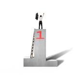 Toegejuichte zakenman die zich op podium met houten ladder bevinden Royalty-vrije Stock Afbeelding