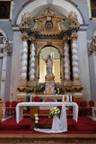 Toegenomen Christus, altaar in Franciscan kerk in Dubrovnik stock foto